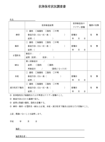 母子医療センター実習者抗体保有状況調査書